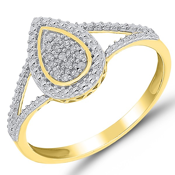 Gelbgold Ring mit Diamanten in Tropfenform