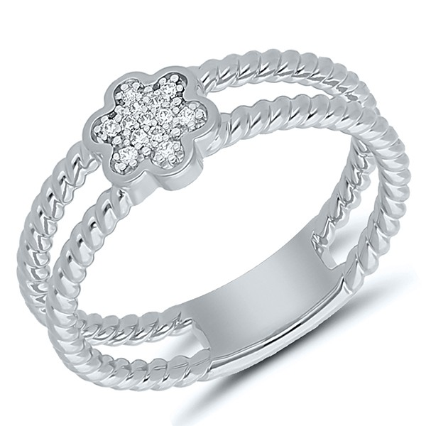 Silberring mit Diamanten